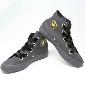 NEW Converse Black Leather HiTop Sneakers Velvet